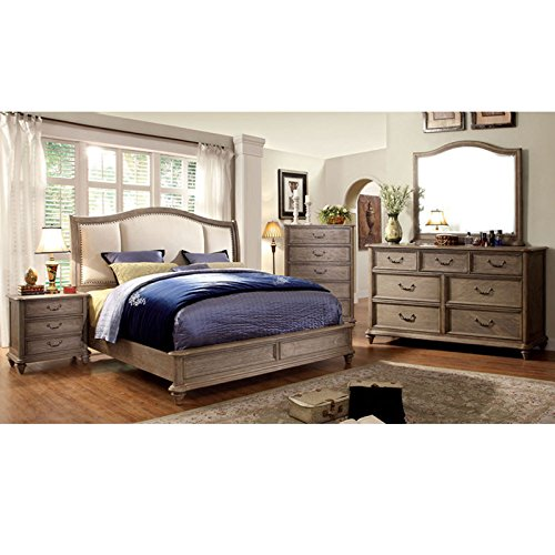 247SHOPATHOME IDF-7612CK-6PC Bedroom-Furniture-Sets, California King, Oak