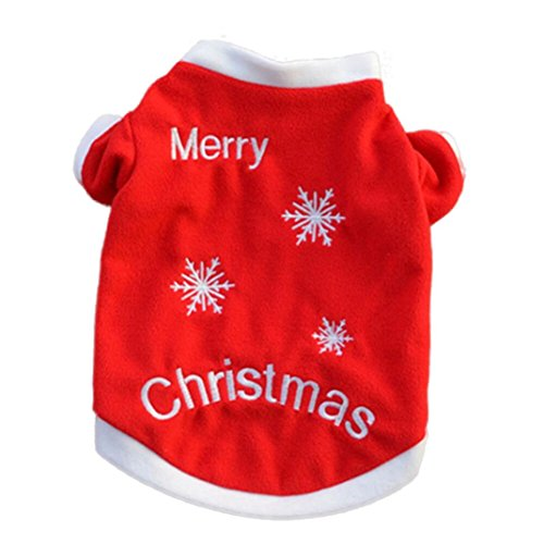 Kimanli T-Shirt Christmas Pet Puppy Autumn Winter Warm Pullover High-Grade Embroidered Clothes (L, Red) ()