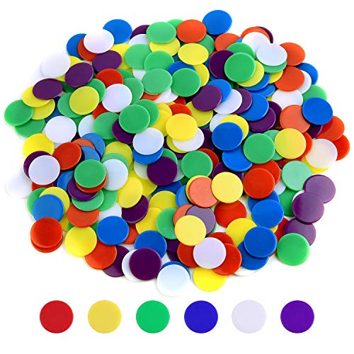 - Coopay 300 Pieces Counters Counting Chips Plastic Markers Mixed Colors for Bingo Chips Game Tokens, Contain White, Blue, Green, Yellow, Red, Purple Colors
