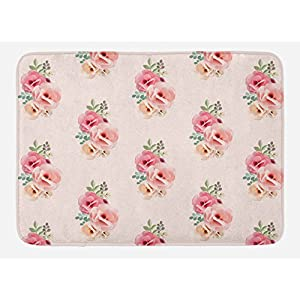 Lunarable Dusty Rose Bath Mat, Bridal Bouquet Corsage Pattern Romantic Natural Wedding Themed, Plush Bathroom Decor Mat with Non Slip Backing, 29.5 W X 17.5 L Inches, Reseda Green Pale Pink 110