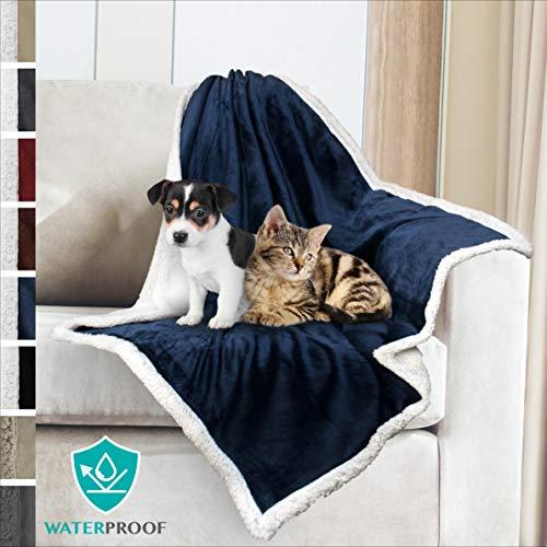PetAmi Premium Waterproof Soft Sherpa Pet Blanket by Cozy, Comfortable, Plush, Lightweight Microfiber, 100% WATERPROOF (30 x 40, Blue)