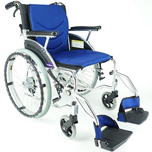 車椅子 車イス 車いす 『Beans(ビーンズ)』選べる全5色で新発売! 自走用 コンパクト 軽量 ノーパンクタイヤ バンドブレーキ 背折れ 自走 介助 カリビアンブルー F102-B カドクラ B016U9PZ7C カリビアンブルー カリビアンブルー