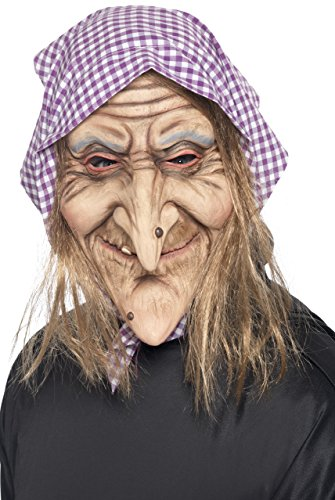 Old Lady Hair Costume (Smiffy's Men's Old Witch Mask, Mask with Headscarf and Hair Attached, One Size, 37194)