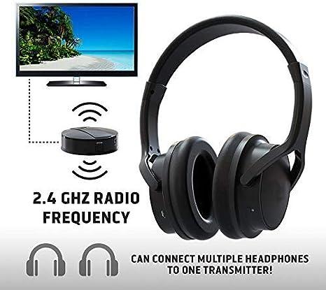 Auriculares de TV recargables inalámbricos- Conexión RF, 2.4 GHz, Transmite de manera inalámbrica hasta 100 pies, No se requiere Bluetooth, AUX, RCA, Cable óptico incluido: Amazon.es: Electrónica