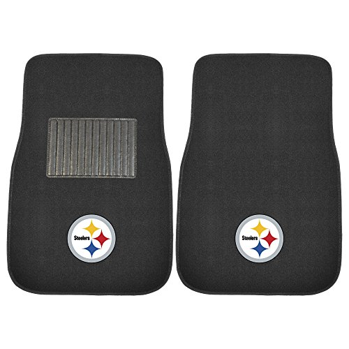 (FANMATS 10302 NFL Pittsburgh Steelers 2-Piece Embroidered Car Mat)