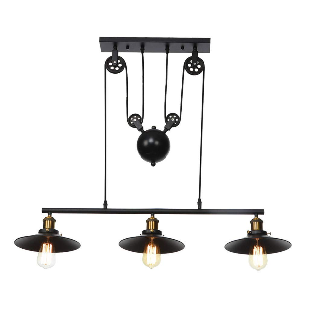 Lighting Iron Hill Three-Light Indoor Island Pulley Pendant, Oil Rubbed Finish with Highlights and Metallic Bronze Interior 8.66x35.8 inch