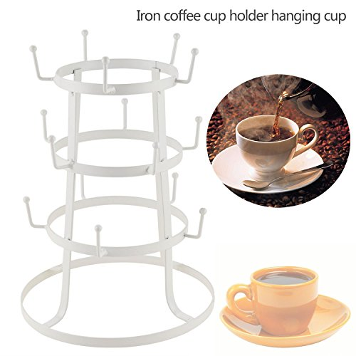 Benlet 3 Tiers Vintage Style Iron Mug Rack, Cup Tree Stand D