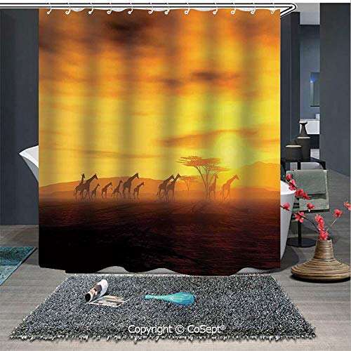 - SCOXIXI Shower Curtain,Group of Giraffe Sunset Sunlights Coloring Clouds Sky and Earth Horizon African Wildlife,for Bathroom Showers and Bathtubs(70.86