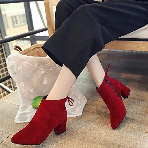 DIDIDD Botas de Tacón Alto con Botas de Cuero de Gamuza Gruesa, Zapatos Europeos Y Americanos,UN,34