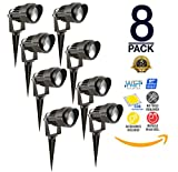Westgate 5W LED Landscape Light, W/ COB Technology & Smooth Aluminum Reflector 12V AC/DC Suitable for Wet Locations, 5 Year Warranty (8 Pack, 3200K Warm White)
