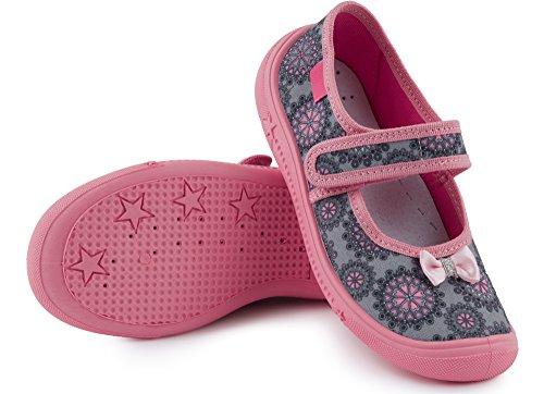 Ladeheid Mädchen Hausschuhe mit Klettverschluss LAVI0004 Grau/Rosa