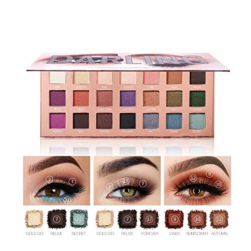 Darling 21 Colors Eyeshadow Palette, 7 Matte + 14 Shimmer Blendable Long Lasting Eye Shadow Palette Highly Pigmented Waterproof Eye Shadows Powder with Mirror 2019 New by ROMANTIC BEAR (Best Eyeshadow Palette 2019)