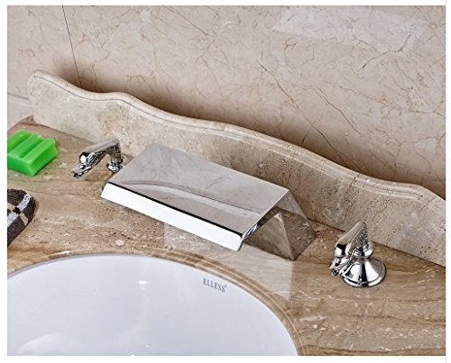 Gowe Chrome Finished Widespread 3pcs Waterfall Spout Bathroom Sink Faucet Deck Mounted Mixer Tap 3