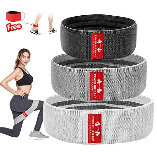 Hip Resistance Bands for Legs and Butt Exercise Workout Booty Hip Band Heavy Fabric Cloth Resistance Loops Thick Wide Elastic Circle Hips Flexor Loop Cotton Glute Activation for Women Men No Slip