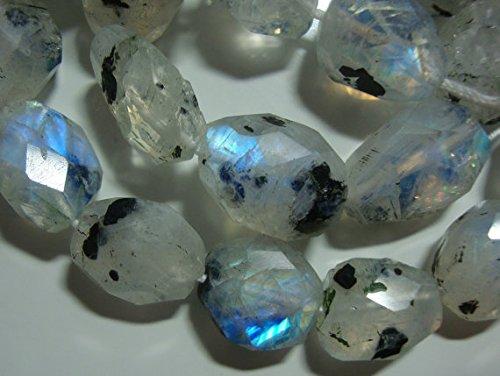 7 pcs, Blue Rainbow Moonstone Labradorite Faceted Nuggets Gemstone (Moonstone Nugget)