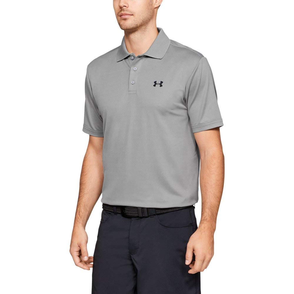 Under Armour Men's Performance Polo, True Gray Heather (025)/Black, XXX-Large