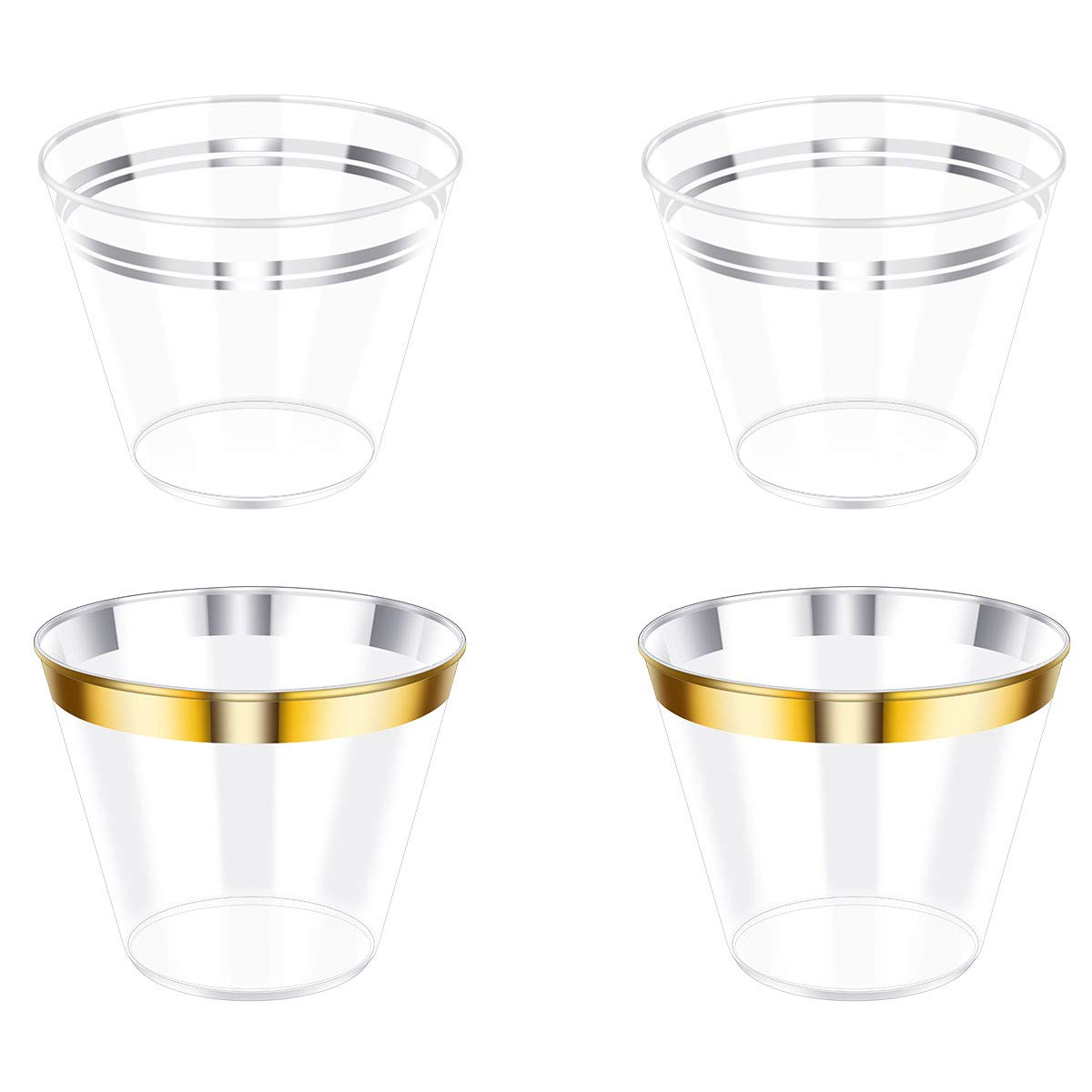 YoungRich 100PCS 9Oz Disposable Plastic Cups Party Cups cupsincluding 50PCS with Gold Rim and 50PCS with Silver Rim Clear Elegant for Home Office Party Wedding
