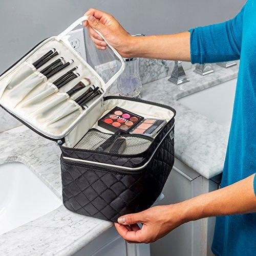 Ellis James Designs Large Travel Makeup Bag for Women - Black Make Up Bag for Women - Travel Cosmetic Bag - Makeup Case Gifts for Women, Makeup Organizer Bag, Travel Toiletry Bag for Women