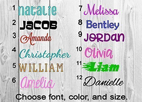 Name or word decal sticker personalized solid and glitter colors