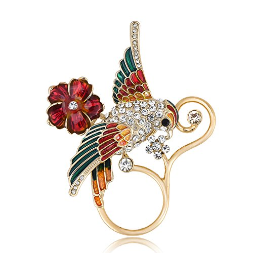 BEICHUANG Clear Crystal Colorful Bird on Red Flower Pretty Vine Eyeglass Holder Magnetic Brooch Pin (gold)