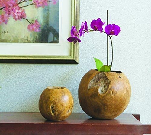 Small Habini Teak Ball Plant Pot, Approx. 8 Inches in Diameter