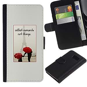 Paccase / Billetera de Cuero Caso del tirón Titular de la tarjeta Carcasa Funda para - France Umbrella Love Eifel Couple - Samsung Galaxy S6 SM-G920