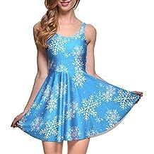 SAFJK Women Summer Ornaments Ball 3D Print Reversible Sleeveless Skater Pleated Dress