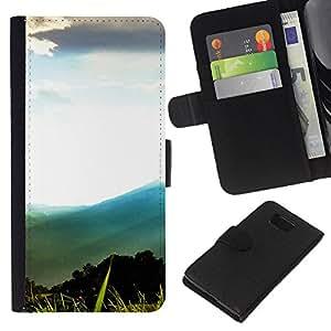 LECELL--Cuero de la tarjeta la carpeta del tirón Smartphone Slots Protección Holder For Samsung ALPHA G850 -- Montaña Forrest Paisaje --