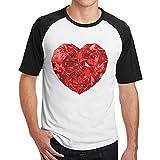 Sakanpo Men's Red Heart Raglan Short Sleeve Baseball Tee