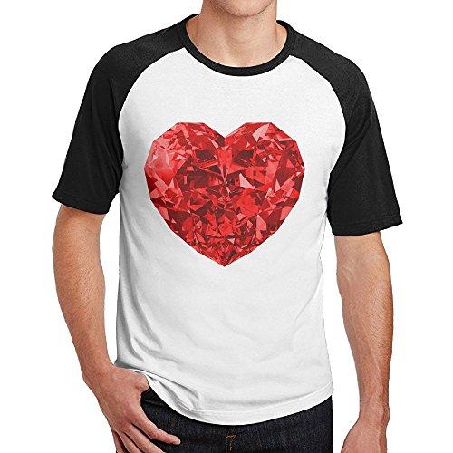 - Sakanpo Men's Red Heart Raglan Short Sleeve Baseball Tshirt L