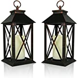 banberry designs decorative lanterns set of 2 brushed brass candle lanterns with a flameless led pillar candle and 5 hour timer outdoor lighting 13h - Decorative Lanterns