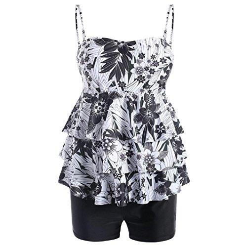 Ladies Plus Size Bikini Set Swimwear Push-Up Padded Print Swimsuit Beachwear Tankini Ruffle Top 2 Pieces (Black, US - Plus Size Veil Velvet