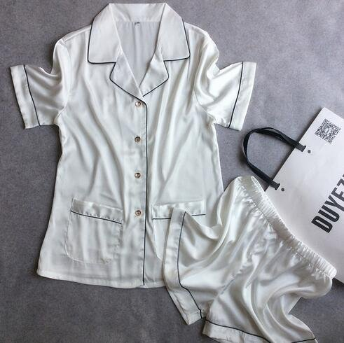 blanc set grand PPOJAS Pantalon court + Hauts à hommeches courtes Deux Pièces Pyjamas Ensembles De Soie Satin De Nuit De Haute Qualité Vestidos De