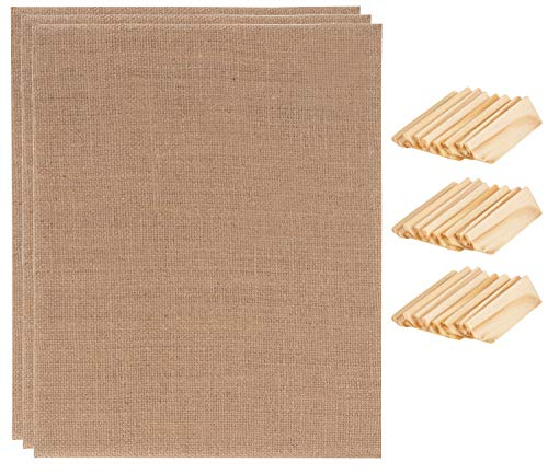 Burlap Canvas - 3-Pack 8 x 10 Inches Burlap Panel with Wood Key, Burlap Board, Stretched Canvas for Oil, Acrylic, Other Art Media Painting, Drawing, for Artists, Designer, Hobby Painter, Kid, Student
