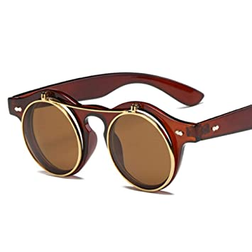 ZRTYJ Gafas de Sol Moda Vintage Steam Steam Punk Flip Up ...