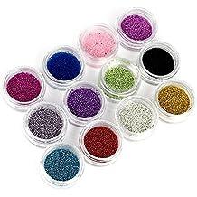 12 Color 1Mm Nail Art Rhinestones Glitters Acrylic Manicure Tools Sticker Wheel Tips