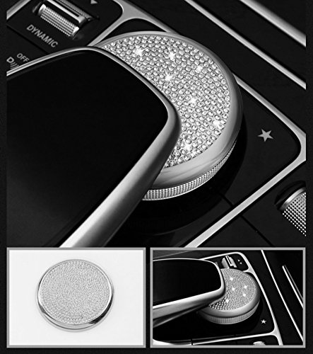 Multi Austrian Crystal - Boobo Ice Out Multimedia Mouse Buttons Center Console Knob adjust Cover Trim Luxury Badge Bling Emblem With Genuine Austrian Crystal For Mercedes Benz E C-Class GLC W205 W213 (Silver Media Knob)
