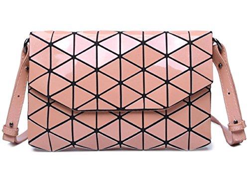 Bag Luminous Cross Fashion Envelop with Women's Purse Geometric Satchel Shoulder Plaid Pink Glossy Flap body 5q04FUFAn