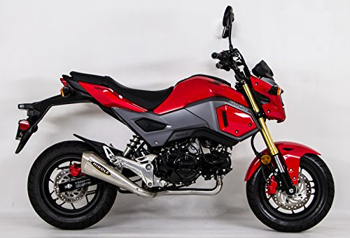 HINDLE Evo Megaphone Full Exhaust Brushed Stainless System for 2017-2019 Honda Grom SF 75-0305M