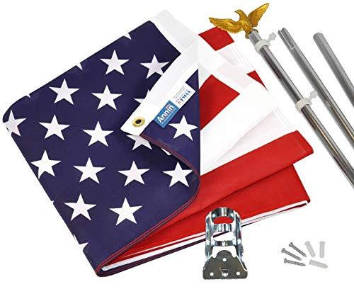 Annin Flagmakers Model# 11325 American Flag and Flagpole Set - 6 ft. 3 Section Aluminum Pole with US Flag 3x5 ft, U.S. Flag Kit