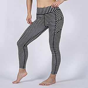 Fashion Stripe Pocket Style Women High Waist Yoga Pants, High Elastic Leggings Workout Gym Stretch Running Pants (Color : Black and White, Size : S)