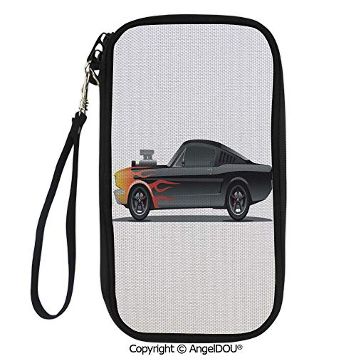 PUTIEN Printed Travel Passport Holder Purse Custom Design Muscle Car with Supercharger and Flames Roadster Retro Styled Decorative with Double Zipper ()