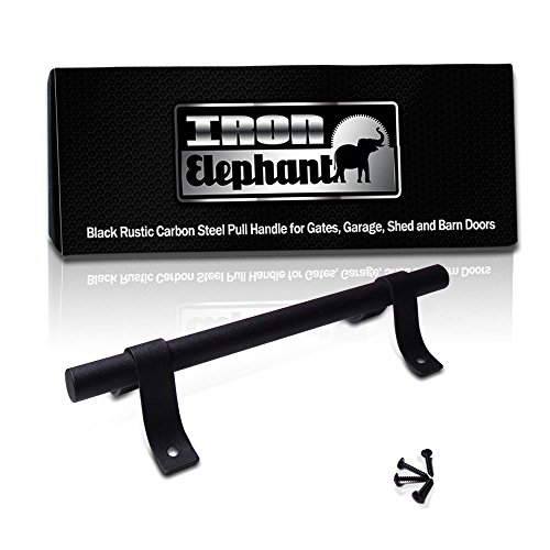 - Iron Elephant Hardware Carbon Steel Rust Resistant Powder Coat Finish Pull Handle for Gates, Shed and Barn Doors (Modern)