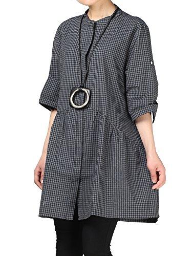 Mordenmiss Women's Plaid A-line Shirt Dress Button Down Half Sleeves Blouse