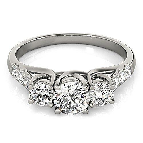 JewelMore 14k White Gold Three-Stone Engagement Ring (0.50 Carat, I-J Color, I2-I3 Clarity) (7) by JewelMore (Image #1)
