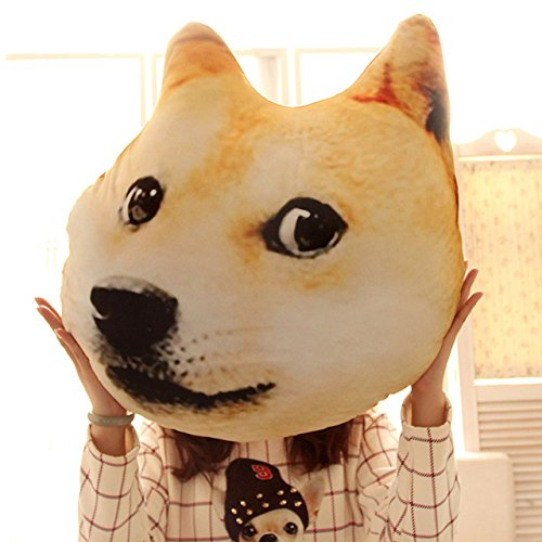 (Mkono Decorative Throw Pillow 3D Akita Doge Dog Head Cartoon Plush Pillow Funny Christmas Birthday Gift Idear Lovely Animal Stuffed Toys )