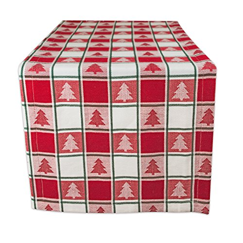 DII Red & White Check with Christmas Tree 100% Cotton Table Runner, Machine Washable for Holiday Gatherings, Dinner Parties, & Christmas (14x72