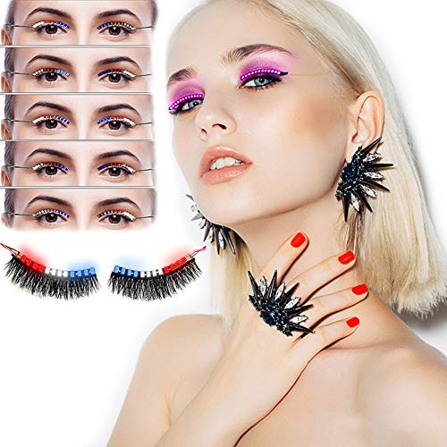 LED Eyelashes Sound Control Flashing LED Lashes Interactive Eyelashes Light Waterproof ,With 3 Colors 12 Flash Modes,for Party Bar Halloween Christmas Rave (3 Colors 12 Modes)
