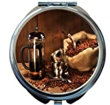 Rikki Knight Sack Of Coffee Beans With French Press Design Round Compact Mirror