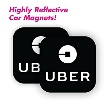 Amazon com wall26 uber driver magnet set of 2 5x5 durable car door bumper magnet w highly reflective vinyl sign for uber and rideshare drivers